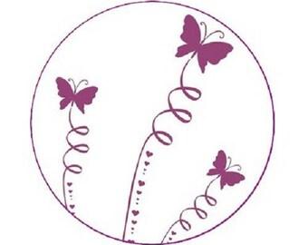 cabochon 25mm, 3 purple butterflies