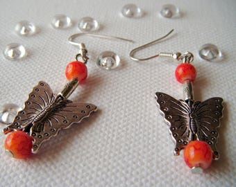 unique earrings, Tibetan silver butterfly and orange beads