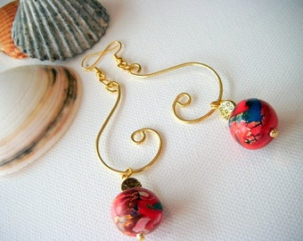 jewelry designer, scroll work earrings, polymer clay beads and gold leaf