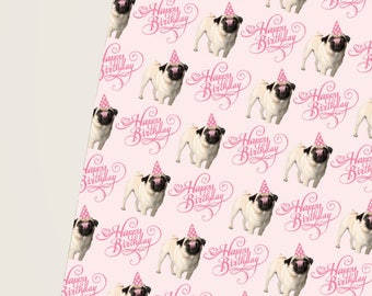 Pugs and Kisses Gift Wrap, Pink Pug Gift Wrap, Pug Wrapping Paper, Cute Pug, Cute Gifts, Gift Wrap For Dog Lovers, Pug Lovers Dream