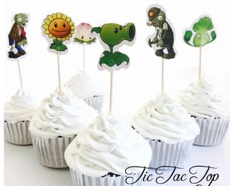 12x Plants Vs Zombies Party Food Cupcake Cake Topper Pick. Party Supplies Bunting Lolly Loot Bags