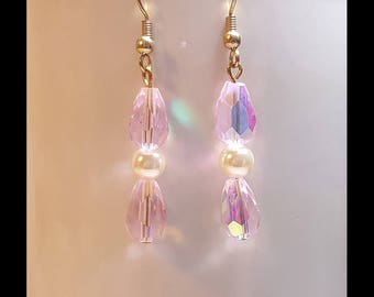 Cream Pearl Pink Crystal Bridal Wedding Earrings