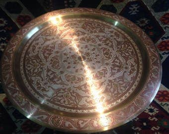Moroccan Brass Tray With red copper