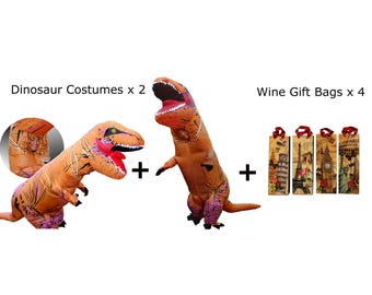 2 x T-Rex Costumes + 4 x Wine Gift Bags = The Ultimate Party Combo
