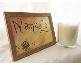 Framed Watercolour and Ink Namaste