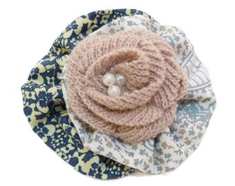 Hair barrette clip retro fabric clip type cotton grey white and blue beige pink knit