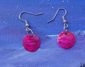 Sequins 15 mm pink pearl earrings