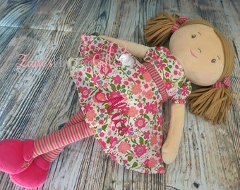 Personalised Rag Doll / Handmade Doll / Baby Doll / Soft Dolls / Doll Bear / Doll for Baby Girls / Doll for Gift / Floral / Fabric Dolls