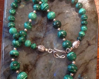 Malachite and Sterling Silver 925 necklace