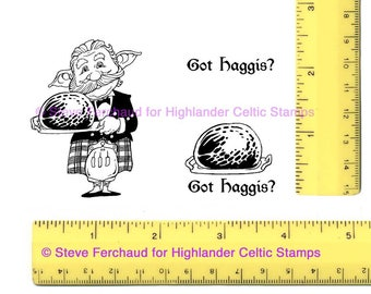 Haggis-Serving Gnome Got Haggis Burns Supper set Unmounted or Mounted Rubber Stamps