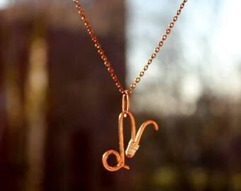 Zodiac sign of Capricorn in copper and rose