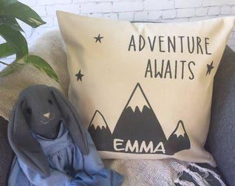 adventure awaits children's throw pillow/nursery throw pillow/ personalized nursery/ mountain decor/ baby shower gift/scandinavian decor