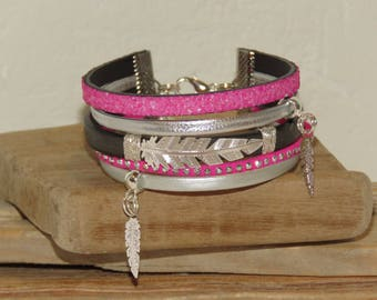 "Cuff Bracelet, MULTISTRAND, teen, pink neon, grey, silver, glitter, leather, suede, ""Neon feather"", Merryweather creations"