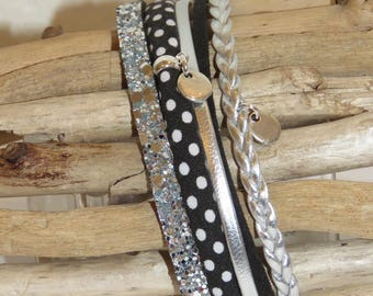 """""""Small dots black"""" Cuff Bracelet leather, leather glitter, bias, suede, silver and black"""