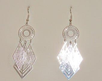 Prints, silver Earrings, dangle earrings, fine jewelry, Pimprenellecreations diamond earrings, geometric Earrings, earrings