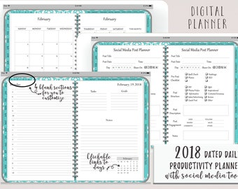 Dated Daily Digital Planner or Digital Journal iPad Goodnotes | Digital Journal | Functioning Tabs | Productivity Planner With Social Media