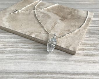 Silver Chain Blue Crystal Necklace