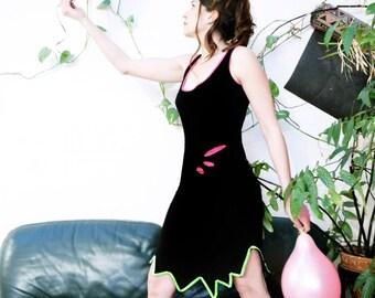 "Knee-length dress ""SPICY"" black-green-Fuchsia"