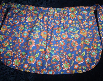Adult Half Apron ~ SHIPPING PAID ~ Bright Blue with Vibrant Colorful Crazy Flower Print