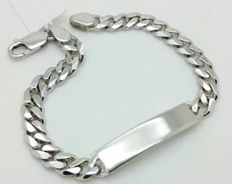 "925 Solid Sterling Silver Miami Cuban ID Bracelet 8.5"" 7mm"