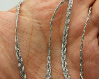 "14k Solid White Gold Braided Foxtail Wheat Necklace Pendant Chain 18"" 3.5mm"
