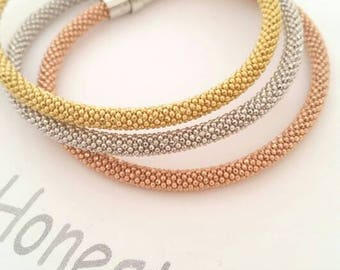 Tri Color Italian Gold Silver Rose Gold  Diamond Cut Popcorn Soft Mesh Bangles Bracelets Cuffs/Mother's Day/Gift/birthday/ Best Selling