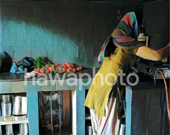 """Indian woman in her kitchen - 12""""x12"""" Art Print on Canvas"""