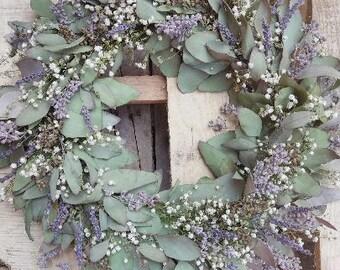 "16"" DRIED wreath, mixed material, Seeded Eucalyptus Baby's Breath lavender, Dried Flower Wreath, wedding decor wreath, rustic wreath, woven"