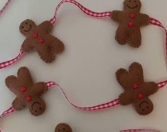 Gingerbread Man Felt Christmas Garland Bunting