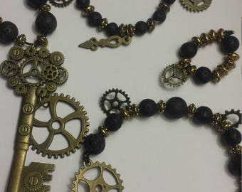 Steampunk set of 4- Bronze gears, key, plus lava stone!