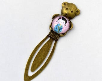 "Teddy bear bookmark and cabochon glass ""Kokeshi"""