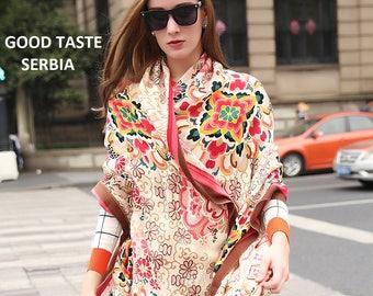 Multicolor Scarf Beige Pashmina Brown Shawl Rainbow Cashmere Scarf Flowers Shawl Hijab Scarf Boho Bohemian Scarves Oversized Wool Shawl Wrap
