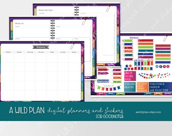 GoodNotes iPad Digital Planner starter kit - purple UNDATED and linked tabs. Plus FREE stickers