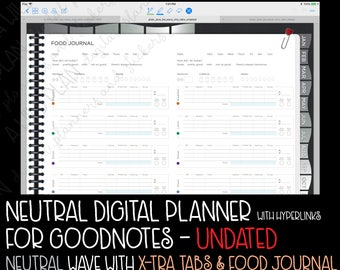 GoodNotes digital planner starter kit for iPad / iPad Pro - UNDATED Neutral WAVE TABS - digital stickers - digital planner kit goodnotes app