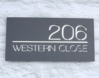 Modern Contemporary House Sign Floating Acrylic Two Colour Rectangular 30x15cm Bespoke Plaque Number and Road Name Hidden Fixings