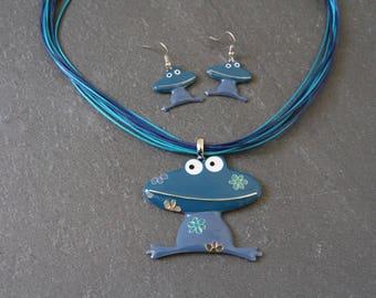 Set frog blue enamel & string waxed canvas