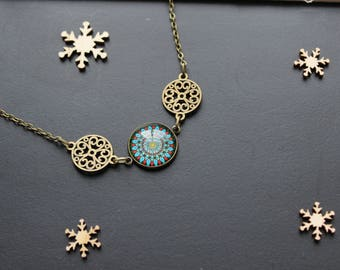 Ethnic style, blue, bronze, glass cabochon necklace