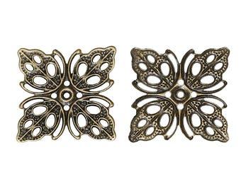 2 bronze flower filigree square prints