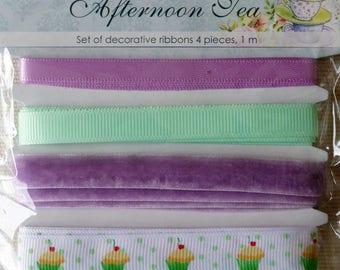 "Set 4 ""Afternoon Tea"" decorative ribbons satin, velvet, grosgrain Ribbon."