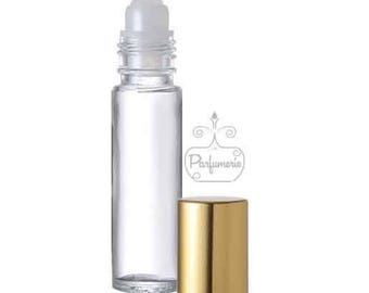 1 Clear Glass Roll On Bottle with Gold Cap- 10 ML 1/3 oz.  Perfect for aromatherapy essential oil blends, body oils, perfume, lip gloss,