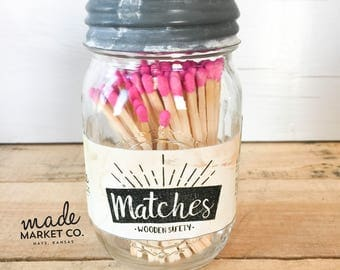 Pink Tip Colored Matches. Match Sticks Decorative Mason Jar. Farmhouse Rustic Home Decor. Unique Gifts for her Best Seller Most Popular Item