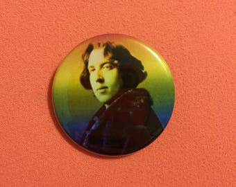 Rainbow Oscar Wilde Button