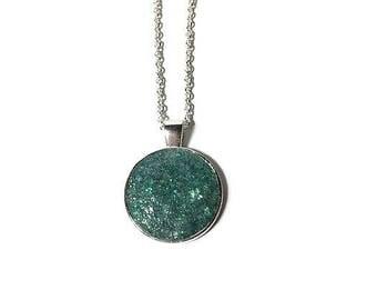 Druzy pendant, Druzy necklace, geode pendant, geode jewelry, under 20 dollars, silver pendant, drusy, pine Druzy, boho, long necklace