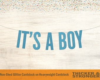 It's A Boy Banner, Block Letters - Gender Reveal, Baby Shower Banner, Baby Shower Decor