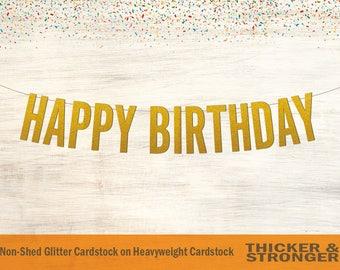 Happy Birthday Banner, Block Letters - Birthday Banner, Happy Birthday Sign, Birthday Decor, Party Decor