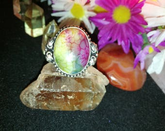 Dragon's Vein Agate Ring ** size 8 ** Sterling silver