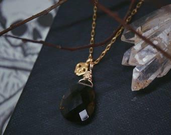 The Memento Mori Pendant smoky quartz briolette and 14k goldfill