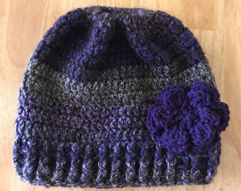 Purple Messy Bun Hat with Flower