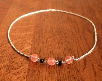Necklace in silver and pink and black stone beads