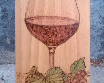 Glass of wine - pyrography on wood;home decoration;gift for dear friend